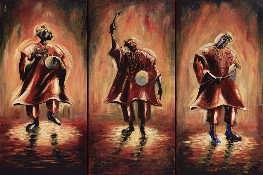 Three paintings of a griot in three different phases of praise-singing, accompanied by his talking drum.