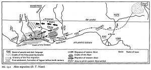 Carte de l'émigration des Akan, montrant la première émigration depuis la région du Lac Tchad.