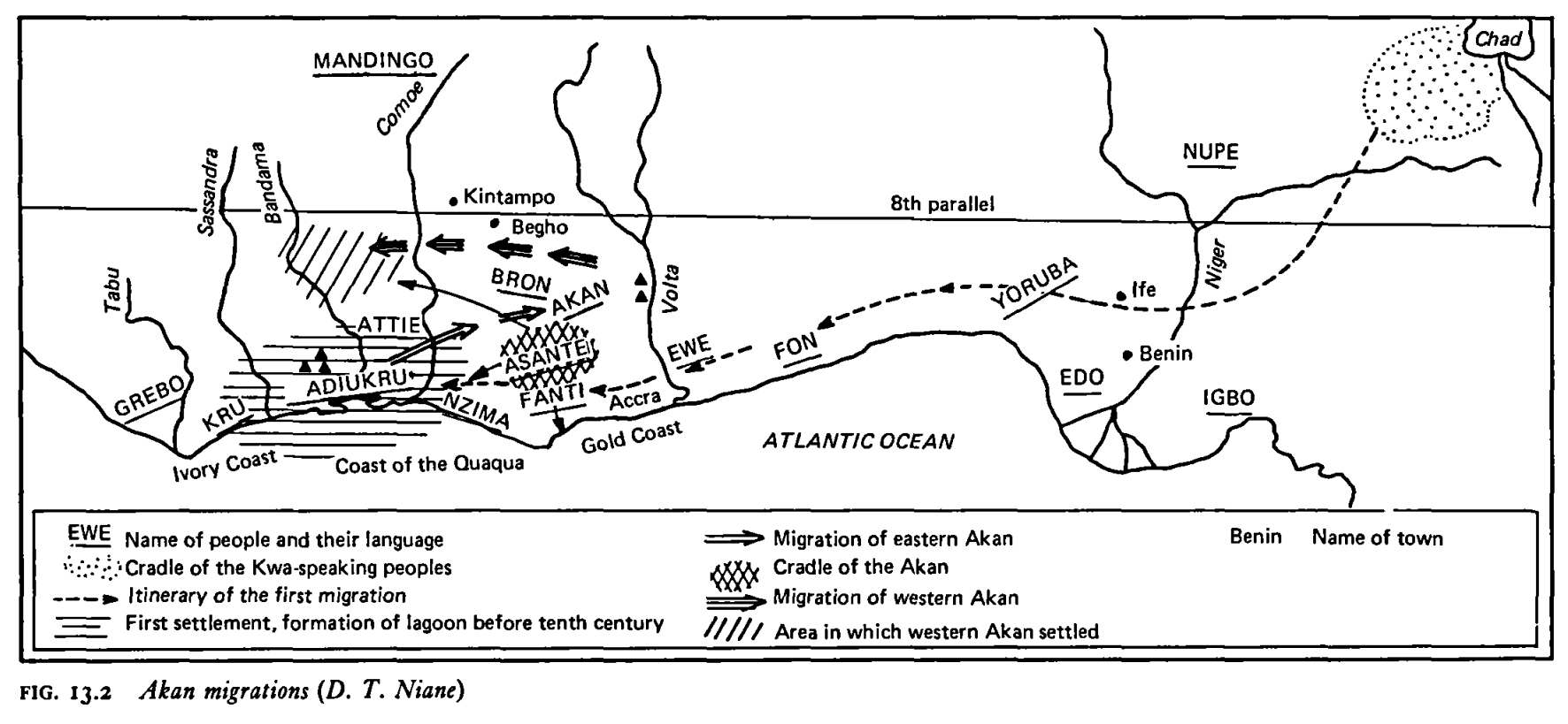 Map of the Akan migrations, showing the first migration to be from the  regions around