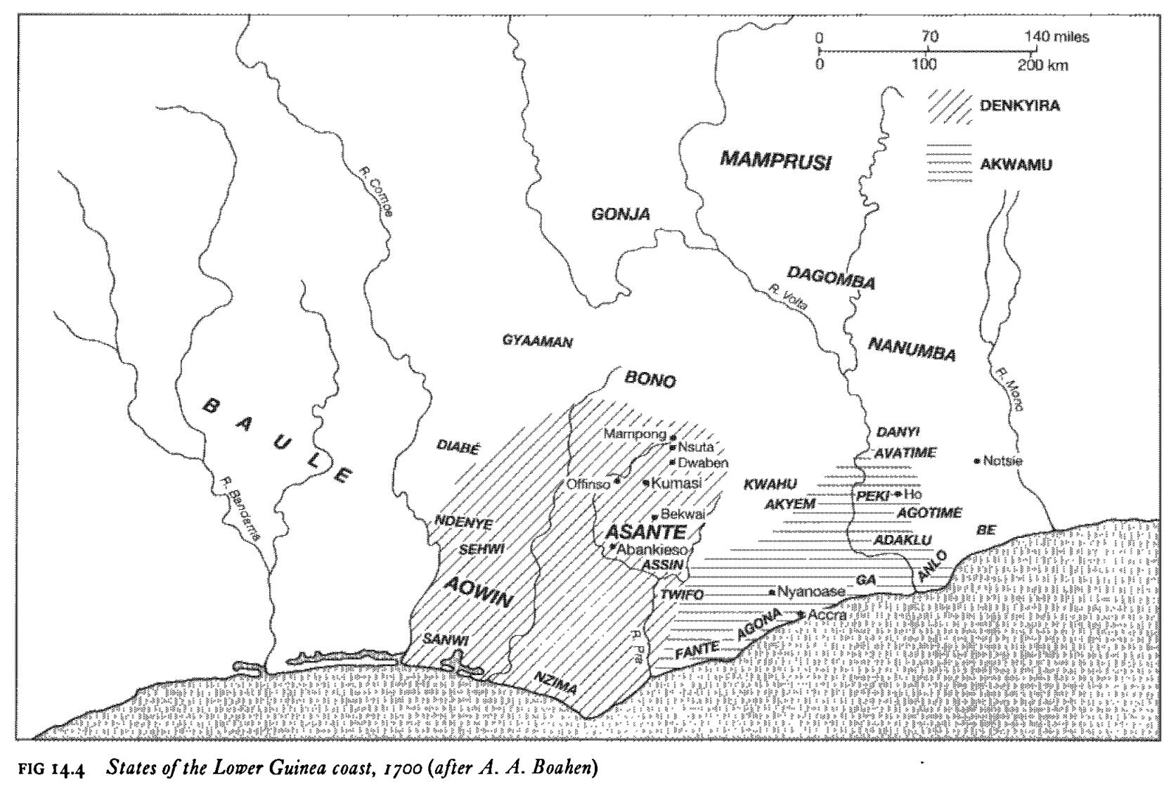 Carte des États Akan (Ashanti, Fante, Denkyira, etc) sur la Côte-de-l'Or au 18ème siècle (actuel Ghana).