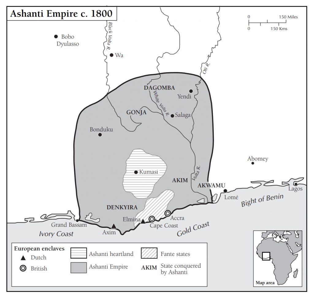 Carte montrant l'Empire Ashanti dans les années 1800, dans l'actuel Ghana.
