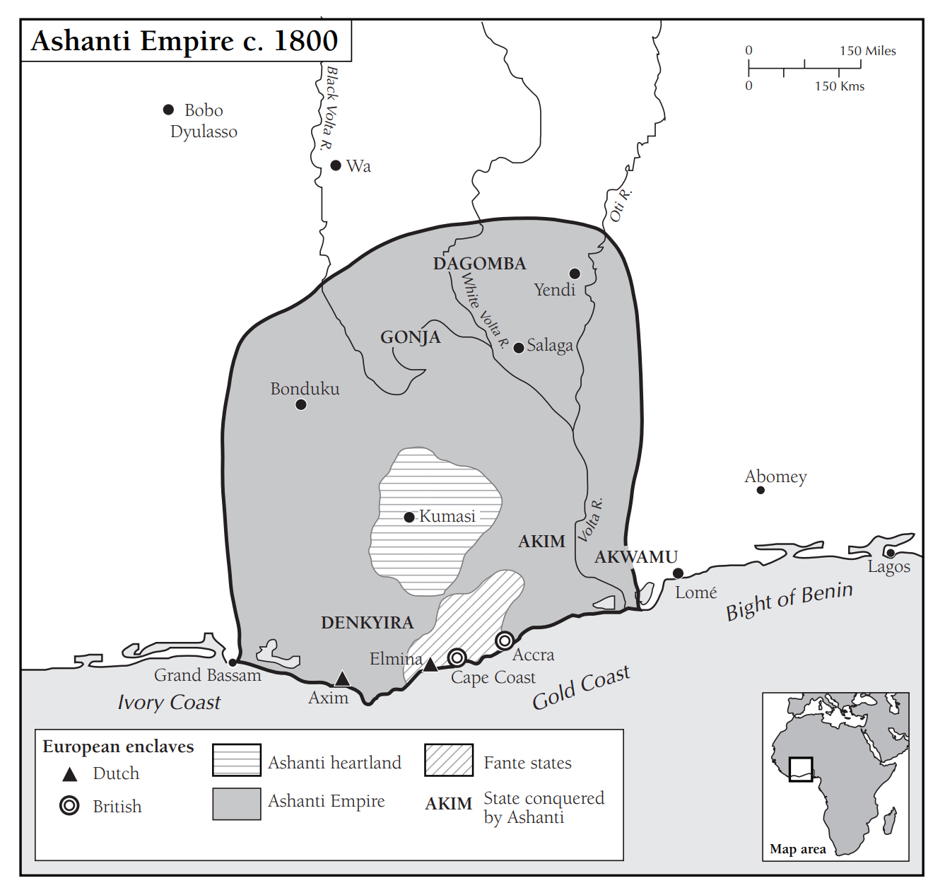 Map showing the Ashanti Empire in the 1800s, in what is modern-day Ghana