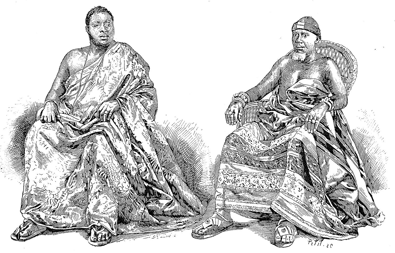 Gravure illustrant deux chefs Ashanti assis.