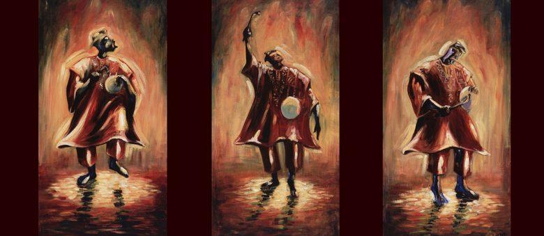 Trois peintures d'un griot en trois étapes, en train de chanter des louanges, accompagné de son tama.