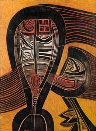 Peinture de deux figures abstraites qui parlent.
