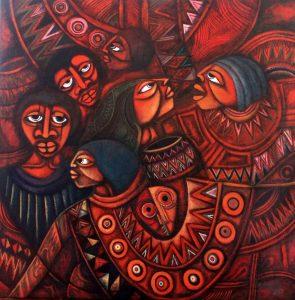 Peinture représentant des visages, et la parole. Certains écoutent, d'autres parlent.