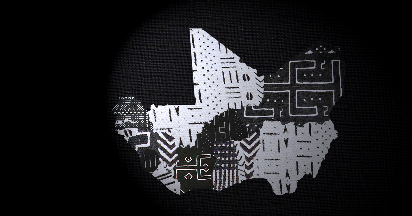 Bogolan (Mud Cloth) map of West Africa in black and white