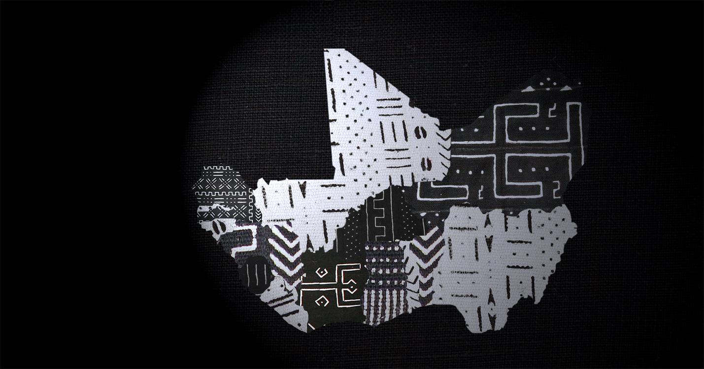 Carte en noir et blanc des pays de l'Afrique de l'Ouest en bogolan par Cultures of West Africa