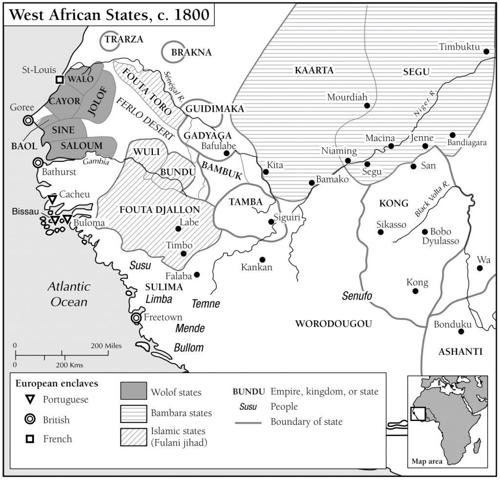 Carte montrant les royaumes Bambara de Kaarta et Ségou parmi les autres États de l'Afrique de l'Ouest dans les années 1800.