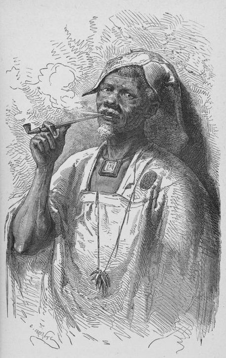 Illustration of a Bambara man smoking a pipe.