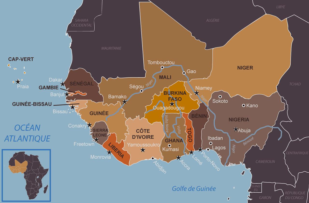 Carte des actuels États de l'Afrique de l'Ouest et de leurs grandes villes et capitales en 2018 par Cultures of West Africa.
