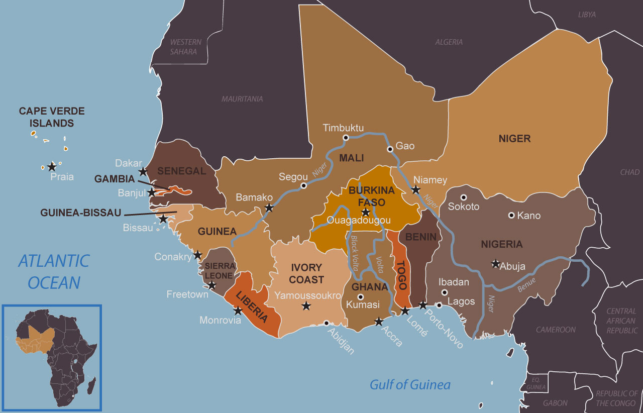 Map of current West African states and their major cities and capitals in 2018 by Cultures of West Africa.
