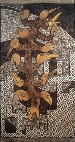 "Groupe Bogolan Kasobane: ""Nyama"". Fine Art Bògòlanfini (bogolan or mudcloth): Earthy tones, a mythological snake/bird figure symbolizing the connections between all things."