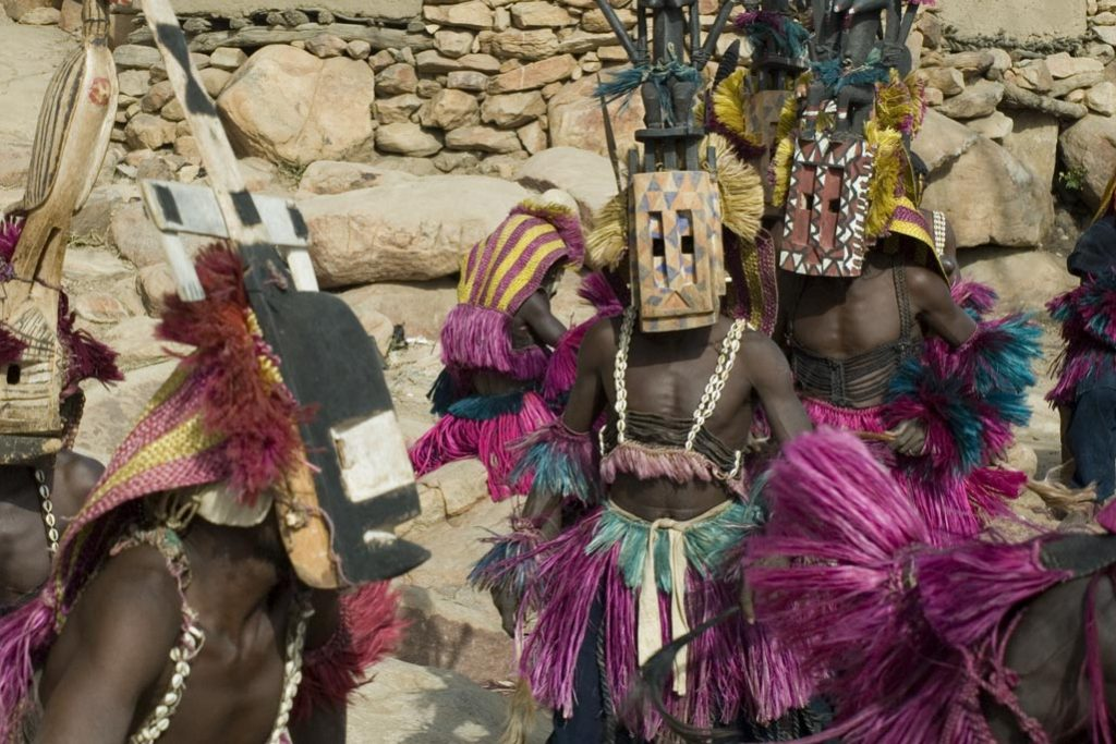 Dogon Kanaga (axis of the world) and Satimbe (fertility) masks