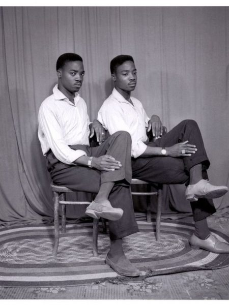 """West African Double Portraiture or """"Twin Images"""": Abdourahmane Sakaly. Two men posing as if they were twins."""