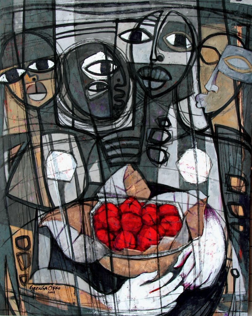 Abstract painting of figures gathered around a bowl of red kola nuts, fruits that are cherished throughout West Africa.