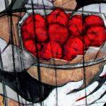 Peinture abstraite de gens autour d'un bol de noix de kola rouges, des fruits chéris à travers l'Afrique de l'Ouest.