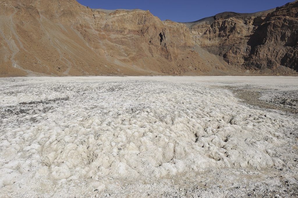 Salt deposits in the Tibesti mountains of the Sahara, in Chad.