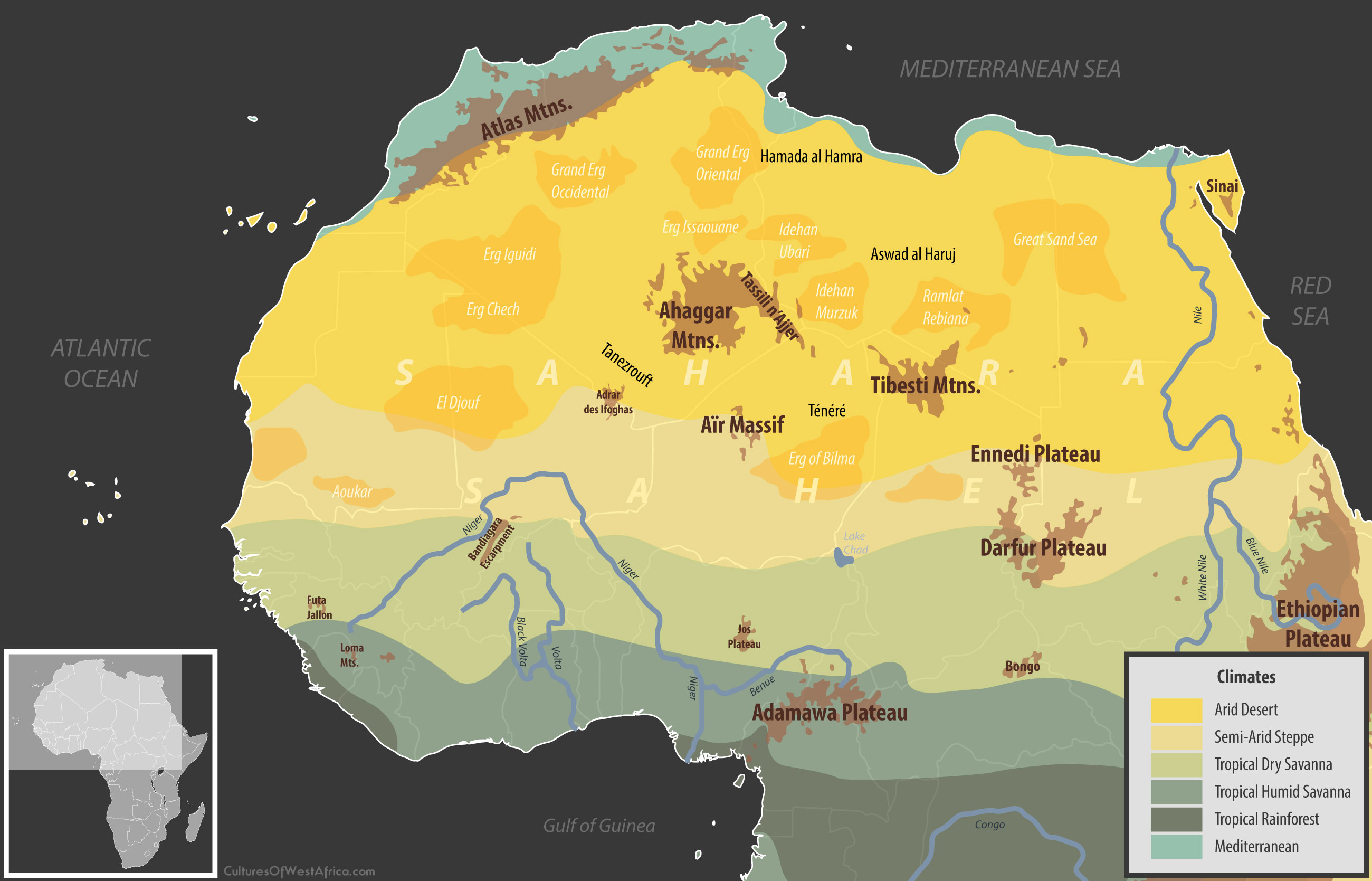 Map of the geography of the Sahara, as well as North and West African climates