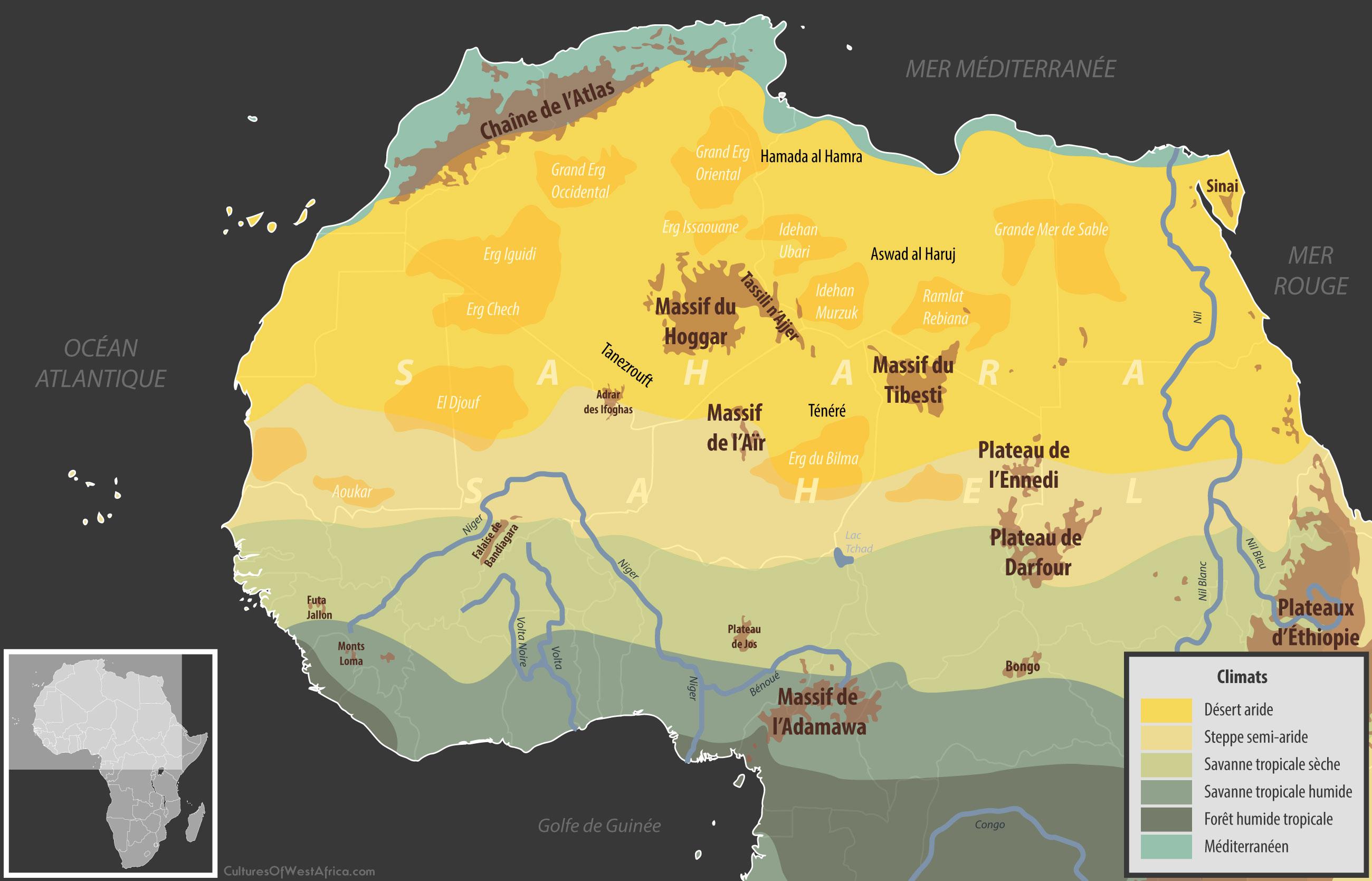 Carte géographique du Sahara, ainsi que les climats de l'Afrique de l'Ouest et du Nord.