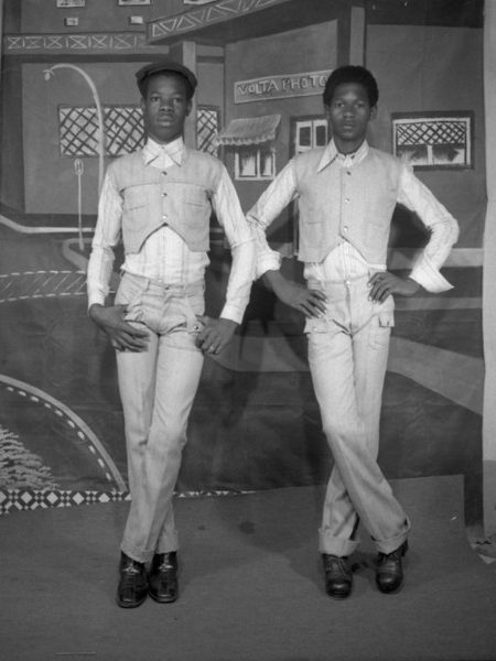 """West African Double Portraiture or """"Twin Images"""": Ibrahim Sanlé Sory. Two brothers posing as if they were twins, 1985"""