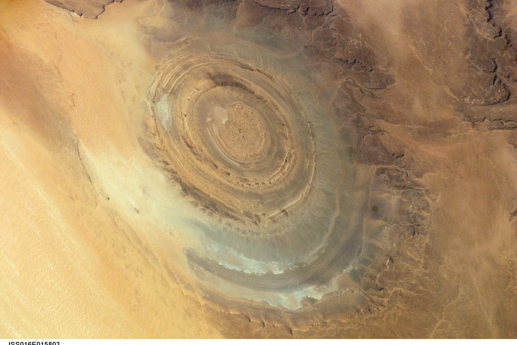 """Eye of the Sahara"" of Richat Structure in the Sahara of Mauritania, viewed from space."