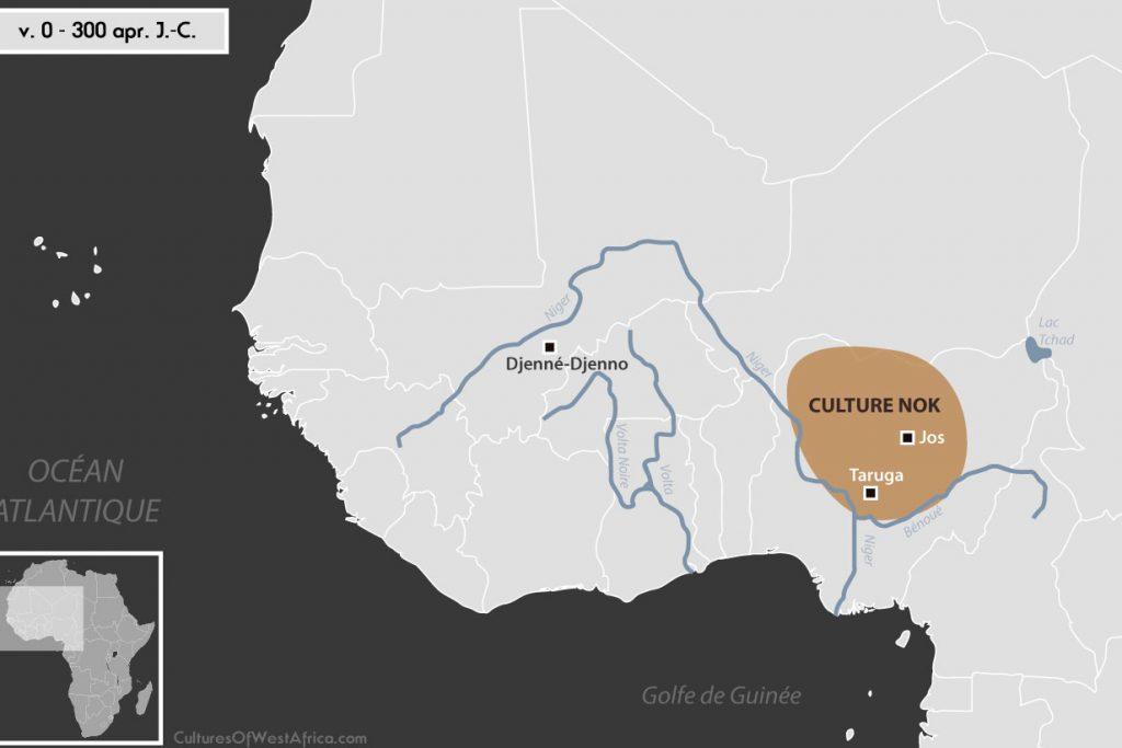 Carte de l'Afrique de l'Ouest vers 0 - 300 apr. J.-C., qui montre la culture de Nok et la civilisation de Djenné-Djenno.