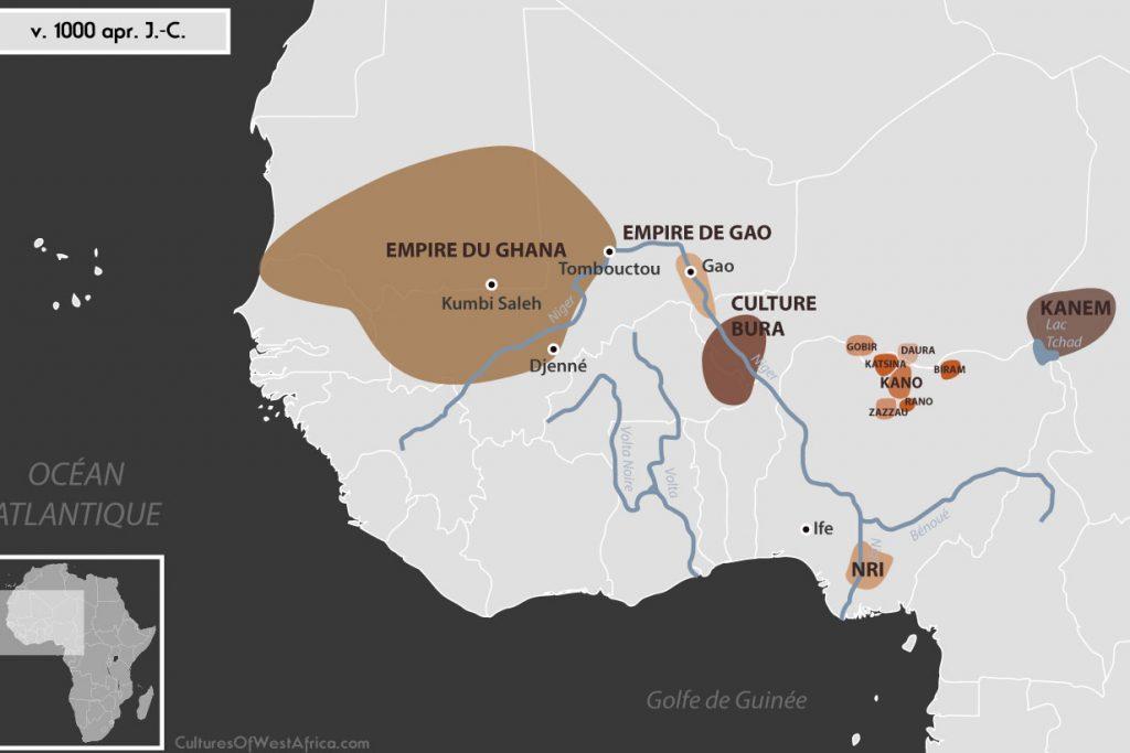 Carte de l'Afrique de l'Ouest vers 1000 apr. J.-C., qui montre la culture de Bura, l'empire de Gao, l'empire du Ghana, le royaume de Kanem, les Royaumes Haoussas (Kano, Rano, Gobir, Katsina, Daura, Biram et Zazzau), et le royaume de Nri.
