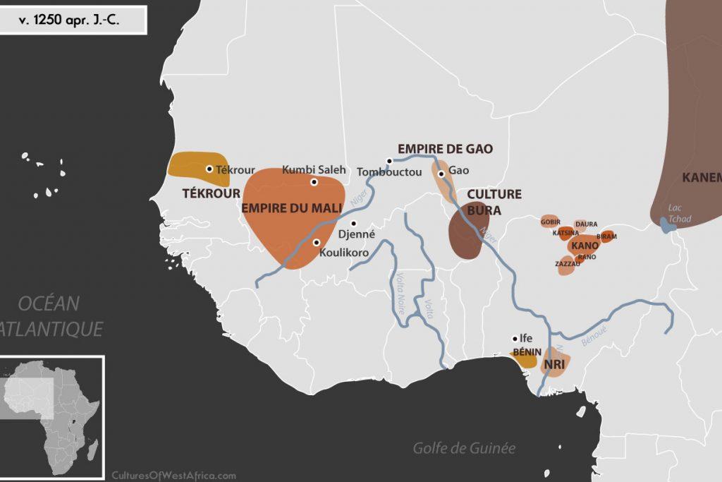 Carte de l'Afrique de l'Ouest vers 1250 apr. J.-C., qui montre la culture de Bura, l'empire de Gao, l'empire du Mali, Tékrour, l'empire de Kanem, les Royaumes Haoussas (Kano, Rano, Gobir, Katsina, Daura, Biram et Zazzau), le royaume du Bénin et le royaume de Nri.