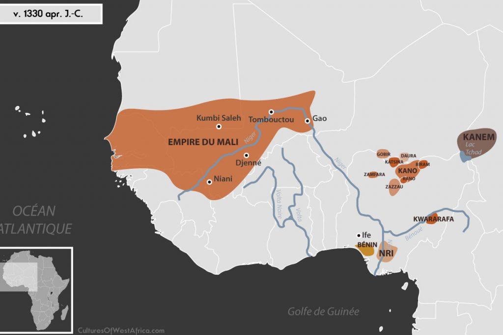 Carte de l'Afrique de l'Ouest vers 1330 apr. J.-C., qui montre l'empire du Mali, l'empire de Kanem, les Royaumes Haoussas (Kano, Rano, Gobir, Katsina, Daura, Biram, Zazzau, Zamfara, Kwararafa ou Jukun), le royaume du Bénin et le royaume de Nri.