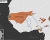 Carte de l'Afrique de l'Ouest vers 1400 apr. J.-C., qui montre l'empire du Mali, l'empire Djolof, l'empire Songhaï, l'empire de Kanem-Bornou, les Royaumes Haoussas (Kano, Rano, Gobir, Katsina, Daura, Biram, Zazzau, Zamfara, Kwararafa ou Jukun) et le royaume du Bénin, le royaume d'Oyo, et ceux d'Igala et de Nri.