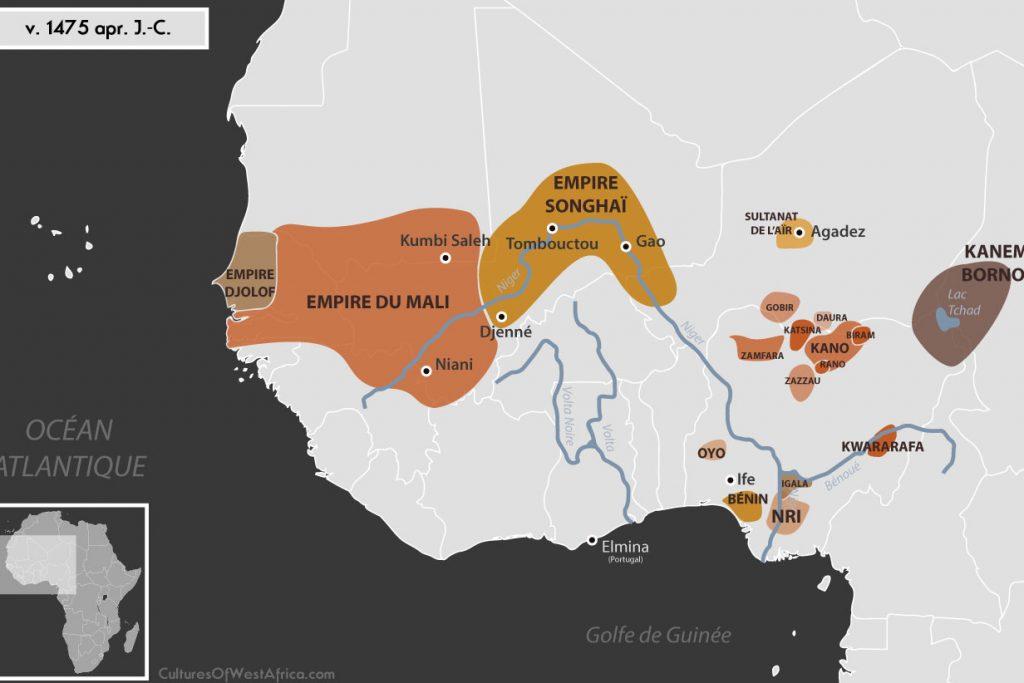 Carte de l'Afrique de l'Ouest vers 1475 apr. J.-C., qui montre l'empire du Mali, l'empire Djolof, l'empire Songhaï, l'empire de Kanem-Bornou, le sultanat de l'Aïr, les Royaumes Haoussas (Kano, Rano, Gobir, Katsina, Daura, Biram, Zazzau, Zamfara, Kwararafa ou Jukun) et le royaume du Bénin, le royaume d'Oyo, et celui d'Igala et de Nri.