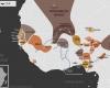 Carte de l'Afrique de l'Ouest vers 1600 apr. J.-C., qui montre l'empire du Mali, l'empire de Denianké, les royaumes de Waalo, Djolof, Cayor, Baol, Sine, Saloum et Kaabu, le royaume de Koya, le Palishak de Tombouctou sous l'empire du Maroc, le royaume songhaï de Dendi, le sultanat de l'Aïr, les royaumes Mossis, l'empire de Kanem-Bornou, les Royaumes Haoussas (Kano, Rano, Gobir, Katsina, Daura, Biram, Zazzau, Zamfara, Kebbi, Nupe, Kwararafa ou Jukun), le royaume du Bénin, le royaume d'Oyo, le royaume de Dahomey, et ceux d'Igala, d'Ijebu, de Nri et de Borgou, et la Côte-de-l'Or Néerlandaise.