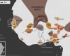 Carte de l'Afrique de l'Ouest vers 1650 apr. J.-C., qui montre l'empire du Mali, l'empire de Denianké, les royaumes de Waalo, Djolof, Cayor, Baol, Sine, Saloum et Kaabu, le royaume de Koya, le Palishak de Tombouctou sous l'empire du Maroc, le royaume de Ségou, le royaume songhaï de Dendi, le sultanat de l'Aïr, les royaumes Mossis, l'empire de Kanem-Bornou, les Royaumes Haoussas (Kano, Rano, Gobir, Katsina, Daura, Biram, Zazzau, Zamfara, Kebbi, Nupe, Kwararafa ou Jukun), les royaumes du Bénin, d'Oyo, d'Igala, d'Ijebu, de Nri et du Borgou et de Dahomey, la Côte-de-l'Or Néerlandaise, et l'empire Denkiyra.