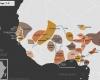 Carte de l'Afrique de l'Ouest vers 1750 apr. J.-C., qui montre l'imamat du Fouta-Djalon, les royaumes bambaras de Ségou et Kaarta, l'empire de Denianké, les royaumes de Waalo, Djolof, Cayor, Baol, Sine, Saloum et Kaabu, le royaume de Koya, le royaume songhaï de Dendi, le sultanat de l'Aïr, les royaumes Mossis, l'empire Kong, l'empire de Kanem-Bornou, les Royaumes Haoussas (Kano, Rano, Gobir, Katsina, Daura, Biram, Zazzau, Zamfara, Kebbi, Nupe, Kwararafa ou Jukun), les royaumes du Bénin, d'Oyo, d'Igala, d'Ijebu, de Nri et du Borgou, la Confédération d'Aro, le royaume de Dahomey, la Côte-de-l'Or Néerlandaise et l'empire Ashanti.