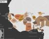Carte de l'Afrique de l'Ouest vers 1830 apr. J.-C., qui montre l'imamat du Fouta-Djalon, les royaumes bambaras de Ségou et Kaarta, l'empire du Macina, l'imamat du Fouta-Toro, les royaumes de Waalo, Djolof, Cayor, Baol, Sine, Saloum et Kaabu, le royaume de Koya, le Protectorat britannique, le royaume songhaï de Dendi, le sultanat de l'Aïr, les royaumes Mossis, l'empire Kong, l'empire de Kanem-Bornou, l'empire Sokoto, les royaumes du Bénin, d'Oyo, d'Igala, d'Ijebu, de Nri et du Borgou, la Confédération d'Aro, le royaume de Dahomey, la Côte-de-l'Or Néerlandaise et l'empire Ashanti.