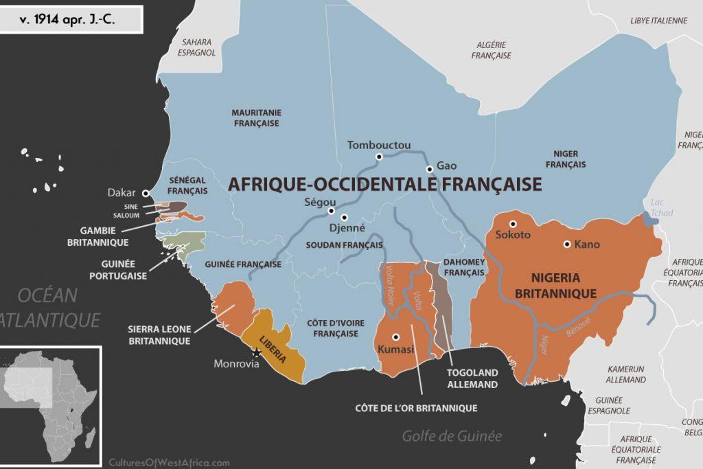 Carte de l'Afrique de l'Ouest vers 1914 apr J.-C., qui montre les colonies européennes: l'Afrique-occidentale française, la Gambie, Sierra Leone, Nigeria et Côte-de-l'Or britanniques, la Guinée portugaise, le Togoland allemand. Le Liberia est indépendant ainsi que les royaumes du Sine et du Saloum.