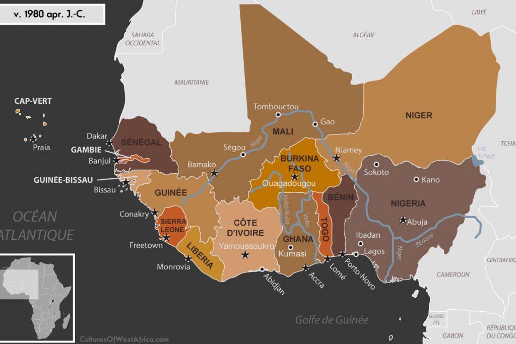 Carte de l'Afrique de l'Ouest vers 1980, avec tous les États africains indépendants, y compris le Cap-Vert, le Sénégal, la Gambie, la Guinée-Bisseau, la Guinée, la Sierra Leone, le Liberia, la Côte d'Ivoire, le Ghana, le Togo, le Bénin, le Nigeria, le Mali, le Burkina Faso, et le Niger.
