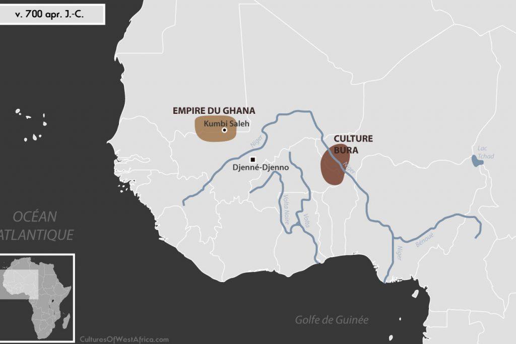 Carte de l'Afrique de l'Ouest vers 700 apr. J.-C., qui montre la culture de Bura, la civilisation de Djenné-Djenno, et l'empire du Ghana.