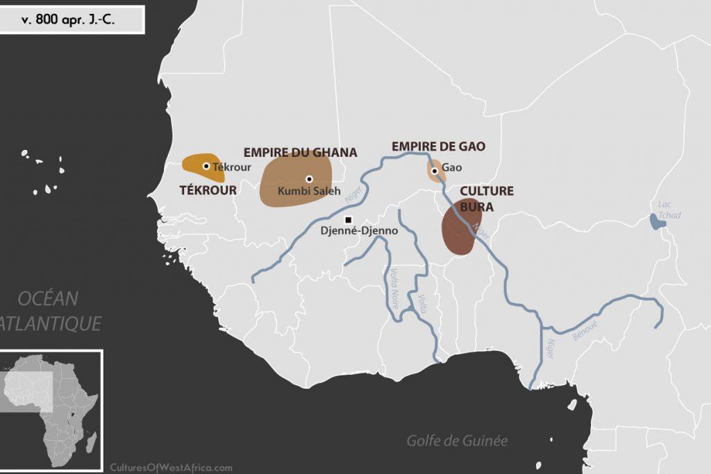 Carte de l'Afrique de l'Ouest vers 800 apr. J.-C., qui montre la culture de Bura, la civilisation de Djenné-Djenno, l'empire de Gao, l'empire du Ghana et le royaume de Tékrour.