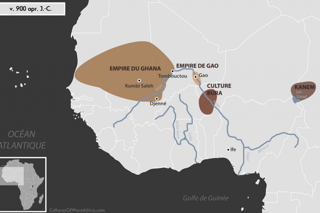 Carte de l'Afrique de l'Ouest vers 900 apr. J.-C., qui montre la culture de Bura, l'empire de Gao, l'empire du Ghana et le royaume de Kanem.