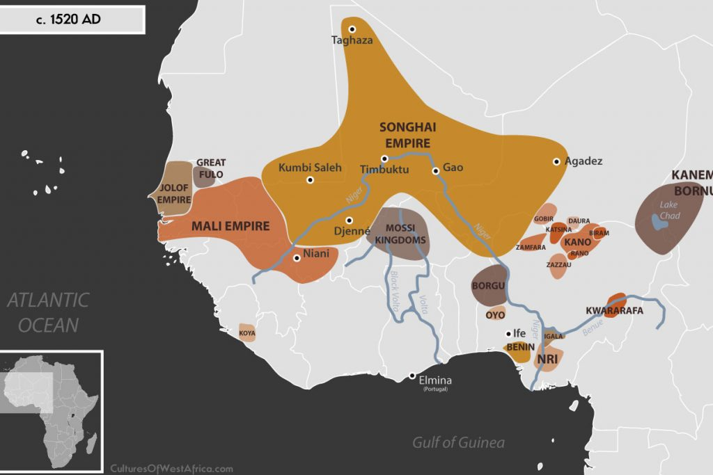 Map of West Africa c. 1520 AD, showing the Mali Empire, the Jolof Empire, the Empire of Great Fulo, the Songhai Empire, the Empire of Kanem-Bornu, the Hausa Kingdoms, the Kingdoms of Nri and Benin, the Kingdom of Oyo, Igala and Kwararafa (Jukun), and the Kingdom of Koya.