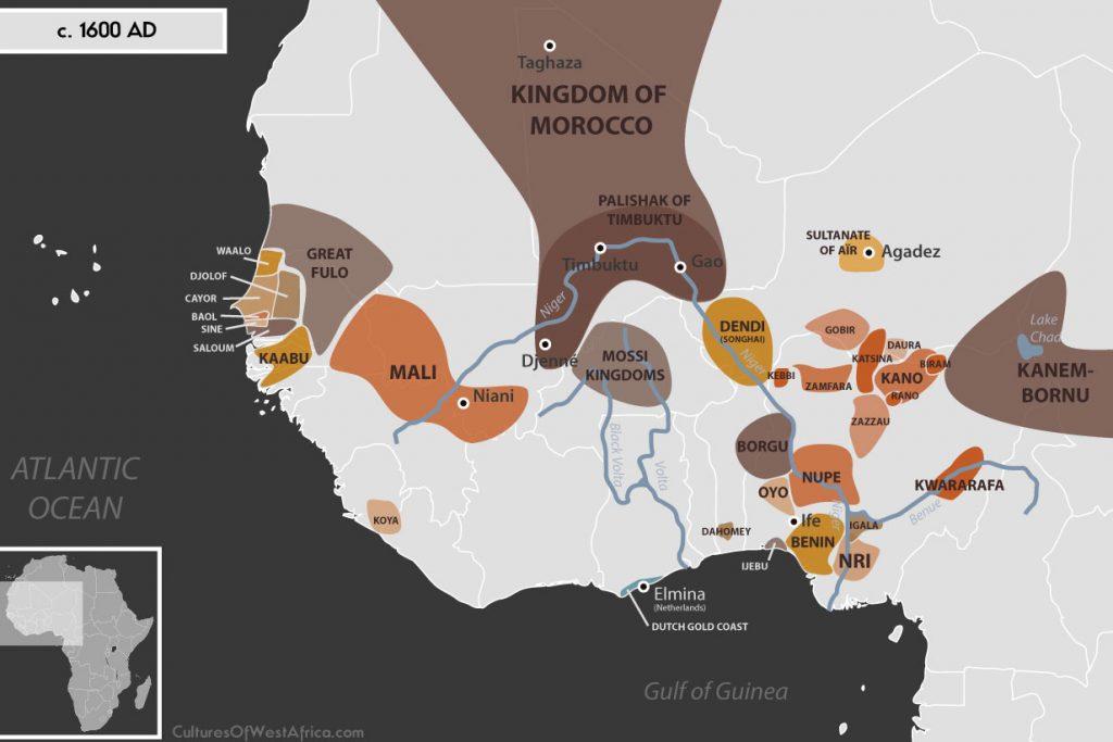 Map of West Africa c. 1600 AD, showing the Mali Empire, the Kingdoms of Waalo, Djolof, Cayor, Baol, Sine and Saloum, the Empire of Great Fulo, the Kingdom of Kaabu, the Palishak of Timbuktu, the Kingdom of Dendi (Songhai), the Sultanate of Aïr, the Empire of Kanem-Bornu, the Hausa Kingdoms, the Kingdoms of Nri and Benin, the Kingdom of Oyo, the Kingdom of Dahomey, Igala, Kwararafa (Jukun) and the Kingdom of Koya.