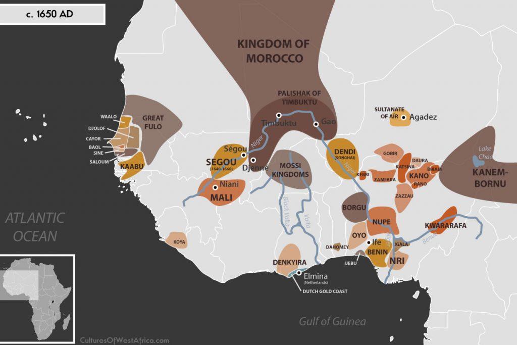 Map of West Africa c. 1650 AD, showing the Kingdoms of Waalo, Djolof, Cayor, Baol, Sine and Saloum, the Empire of Great Fulo, the Empire of Mali, the Ségou Empire, the Kingdom of Kaabu, the Palishak of Timbuktu, the Kingdom of Dendi (Songhai), the Sultanate of Aïr, the Empire of Kanem-Bornu, the Hausa Kingdoms, the Kingdoms of Nri and Benin, the Kingdom of Oyo, the Kingdom of Dahomey, the Denkyira Empire, Igala, Ijebu, Kwararafa (Jukun) and the Kingdom of Koya.