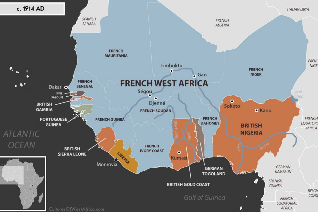 Map of West Africa c. 1914 AD, showing most of it is colonized with French West Africa, British Gambia, Sierra Leone, Gold Coast and Nigeria, Portuguese Guinea, German Togoland, independent Liberia and independent Kingdoms of Sine and Saloum.