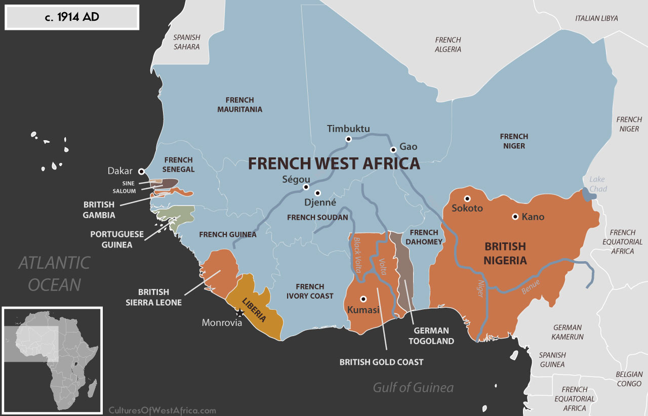 Map Of Africa Showing Nigeria.Maps Cultures Of West Africa