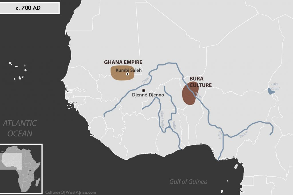 Map of West Africa c. 700 AD, showing the Bura Culture, the Djenné-Djenno civilization, and the Ghana Empire.