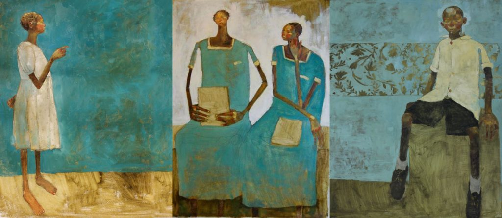Three paintings of youth by Olivia Pendergast. On the left, a painting of a black girl dressed in a white dress, in the center a painting of two schoolchildren in school uniforms holding books, and on the right a boy sitting on a barrel.