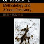 "Cover of the first book/volume in the 'General History of Africa"" encyclopedia by UNESCO, featuring rock art."