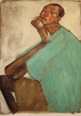 Painting of a black boy chewing the tips of his fingers as he thinks by Olivia Pendergast.